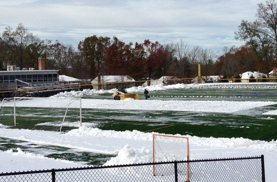 Emergency Snow Plowing at Oratory Prep Soccer Field