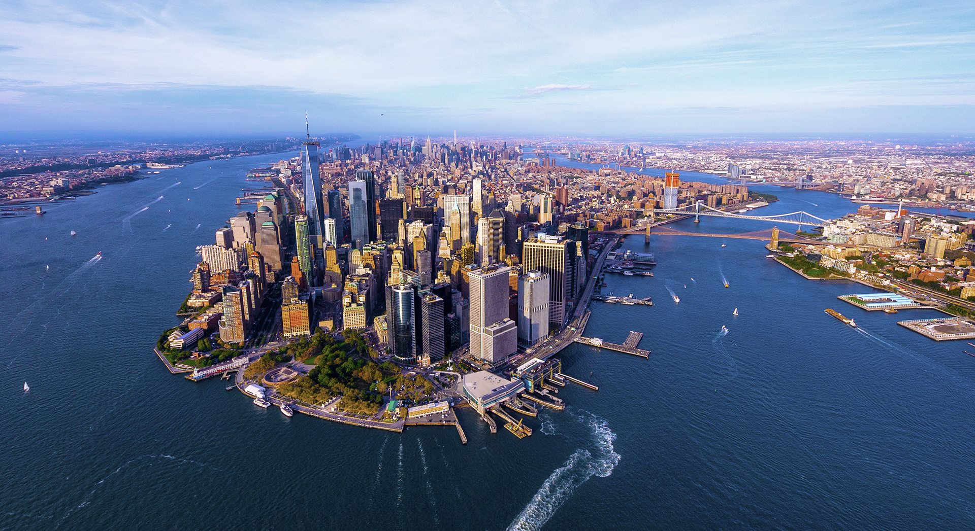Overhead view of Manhattan and part of Brooklyn