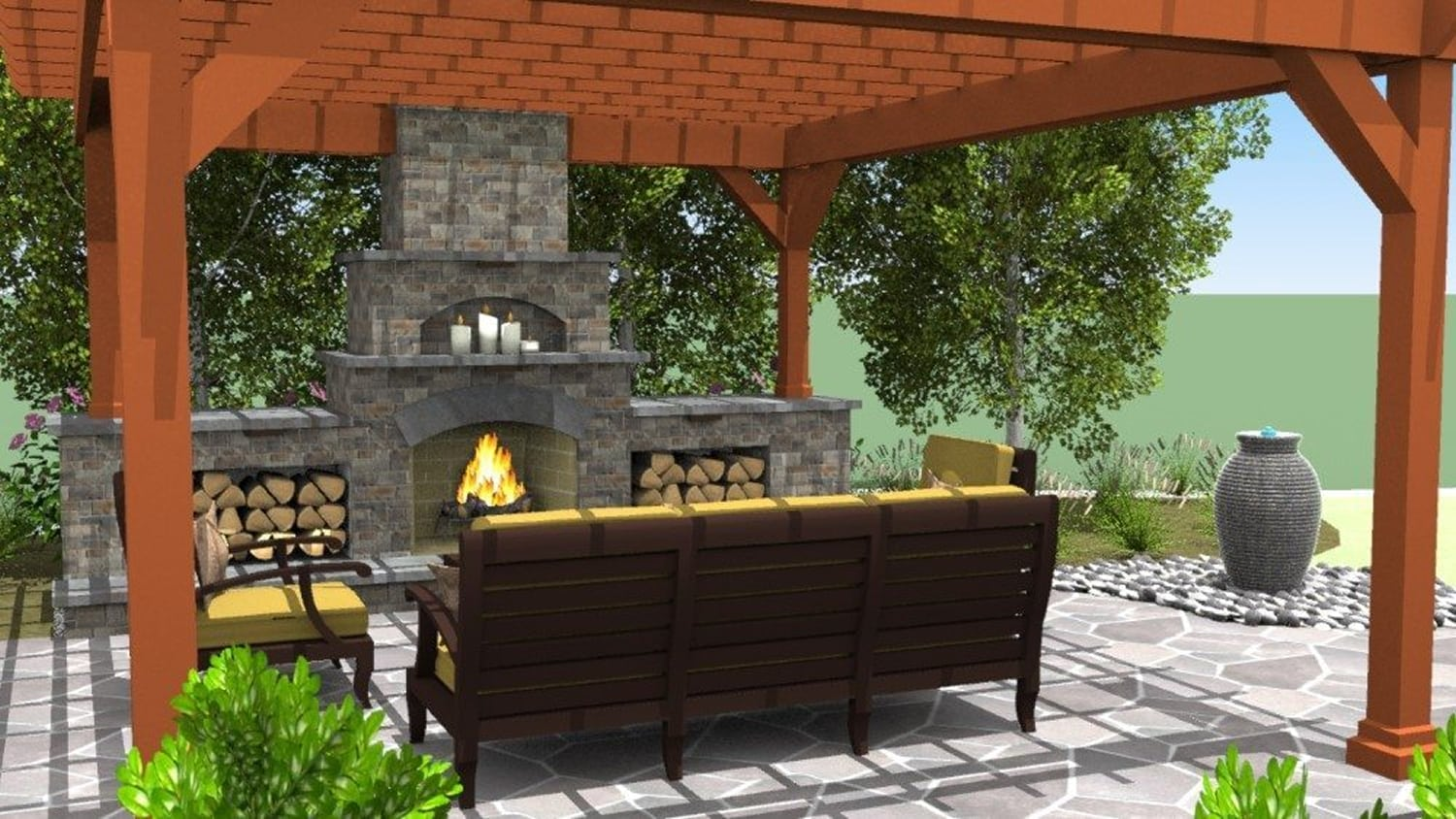 3-D Landscape Design Plan of Patio wth Fireplace, Seating, and Pergola