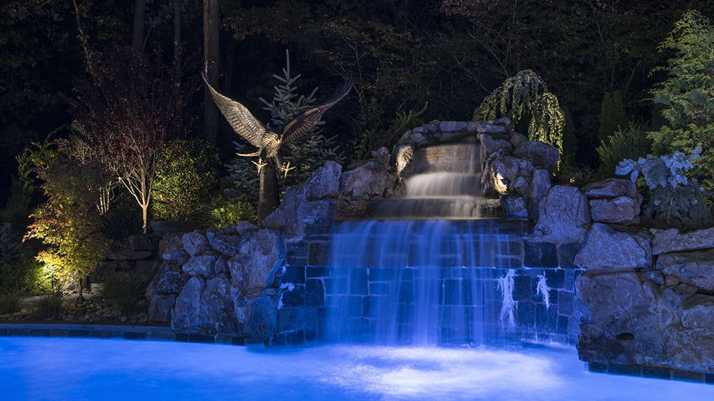 Illuminated Pool Waterfall
