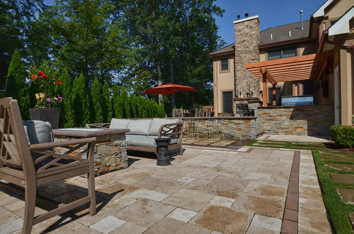 Outdoor Living Space Seating Area with Stone Firepit