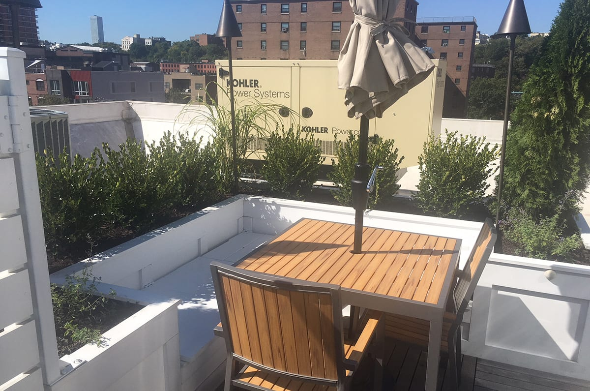 Rooftop Garden Terrace Dining Nook with Built-In Bench