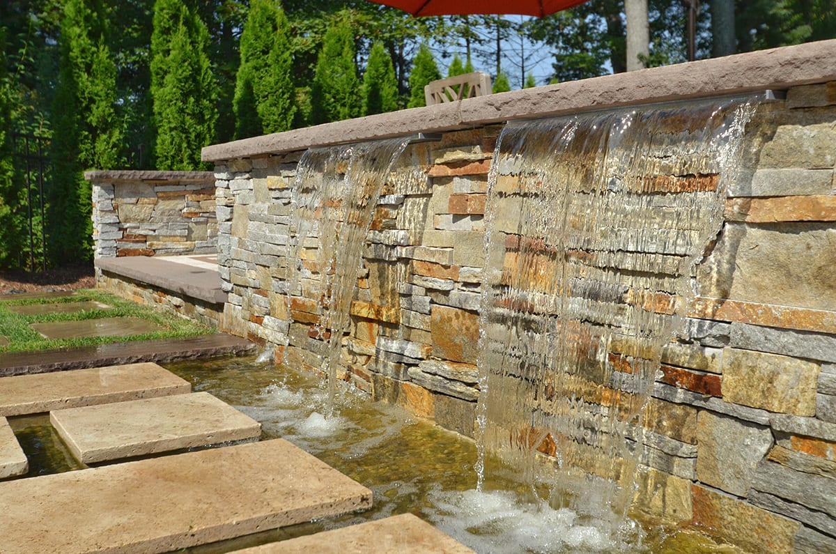 Stone Water Wall and Pond