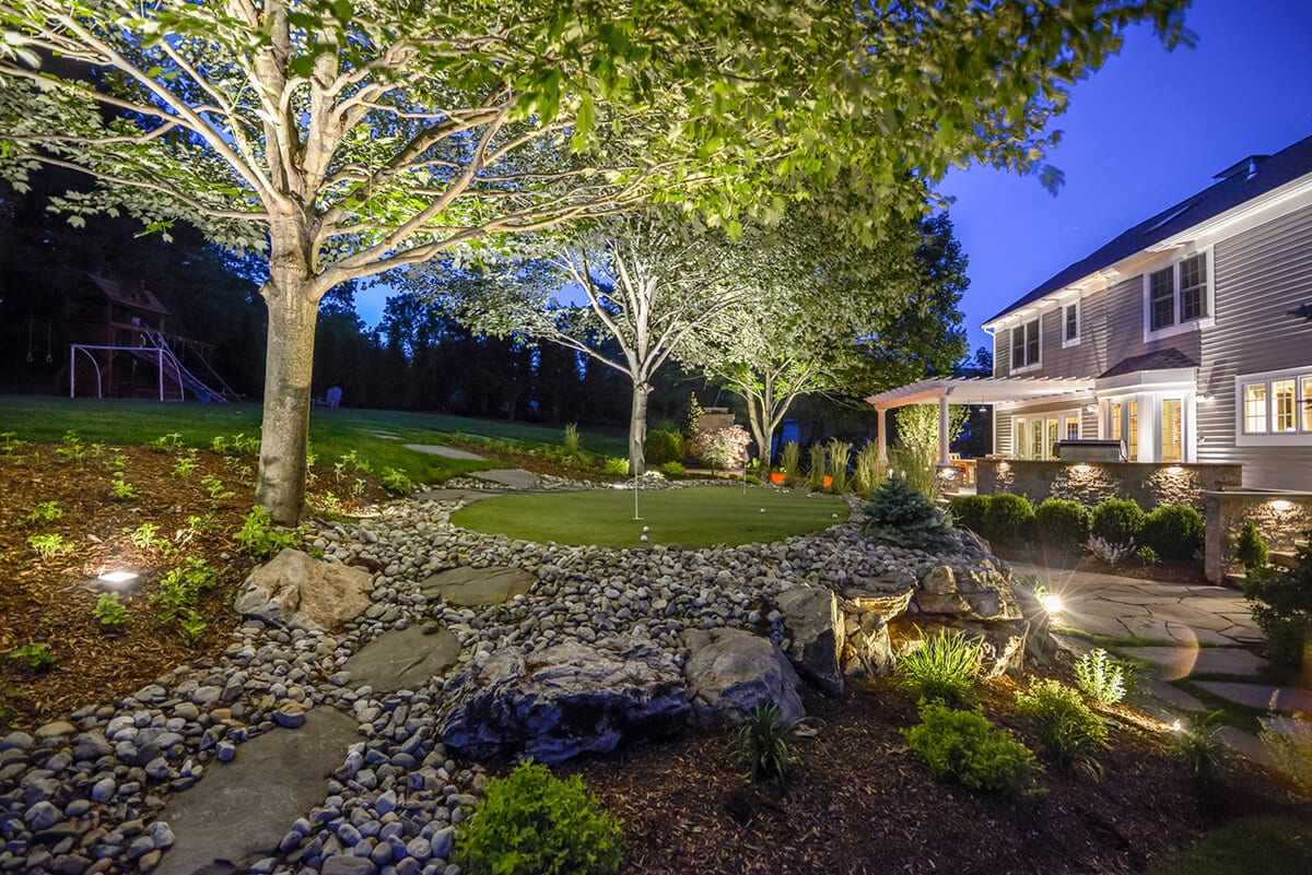 Personal Putting Green with Outdoor Lighting