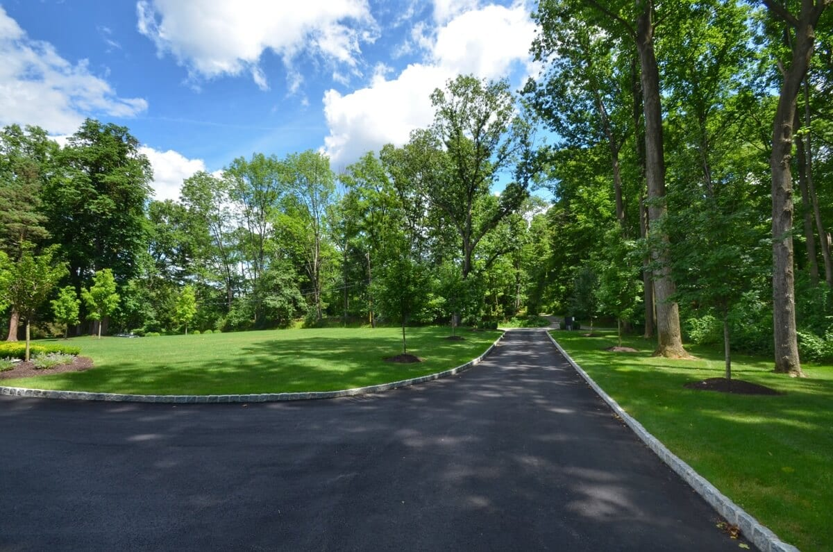 Long Curbed Driveway and Grounds