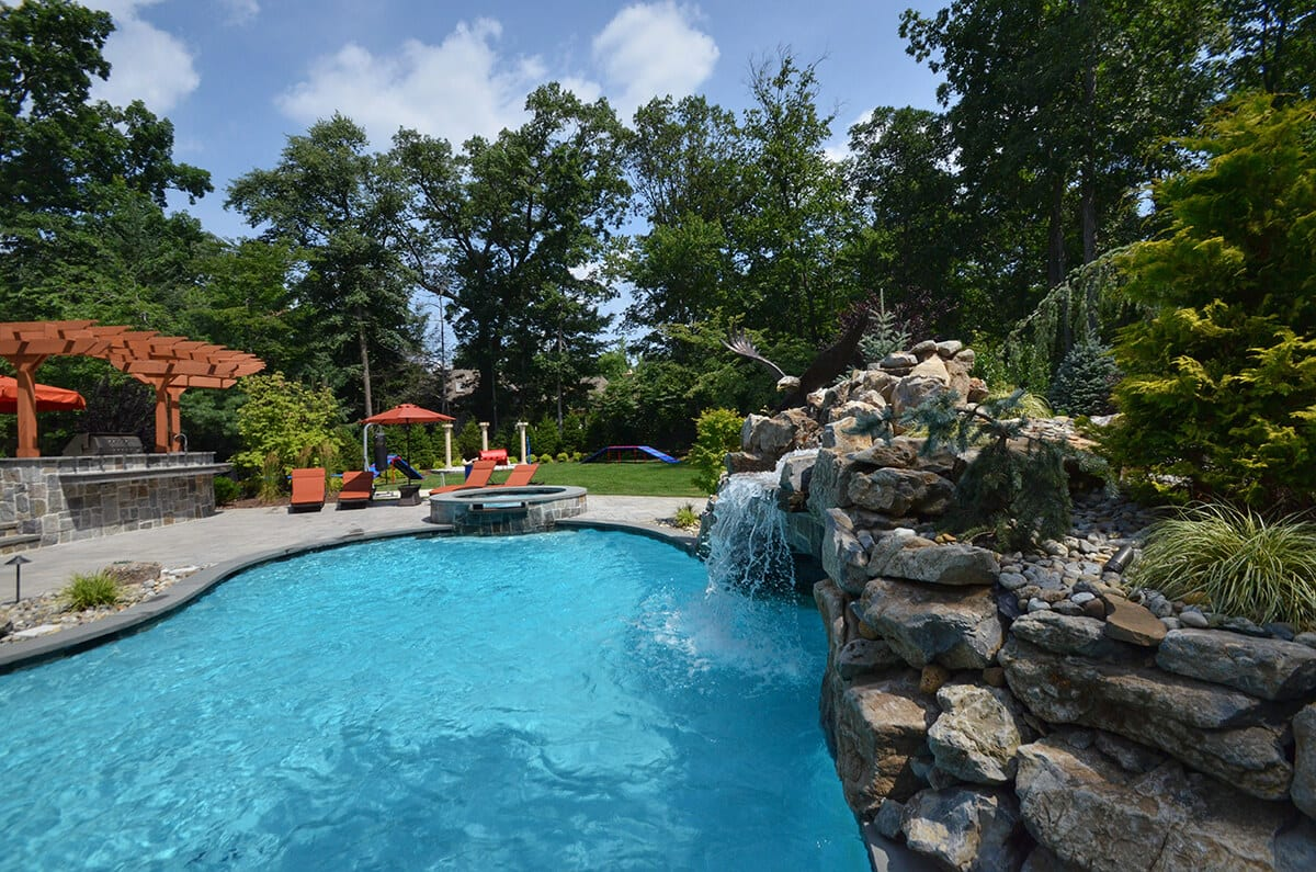 Pool with Waterfall and Hot Tub with Waterfall