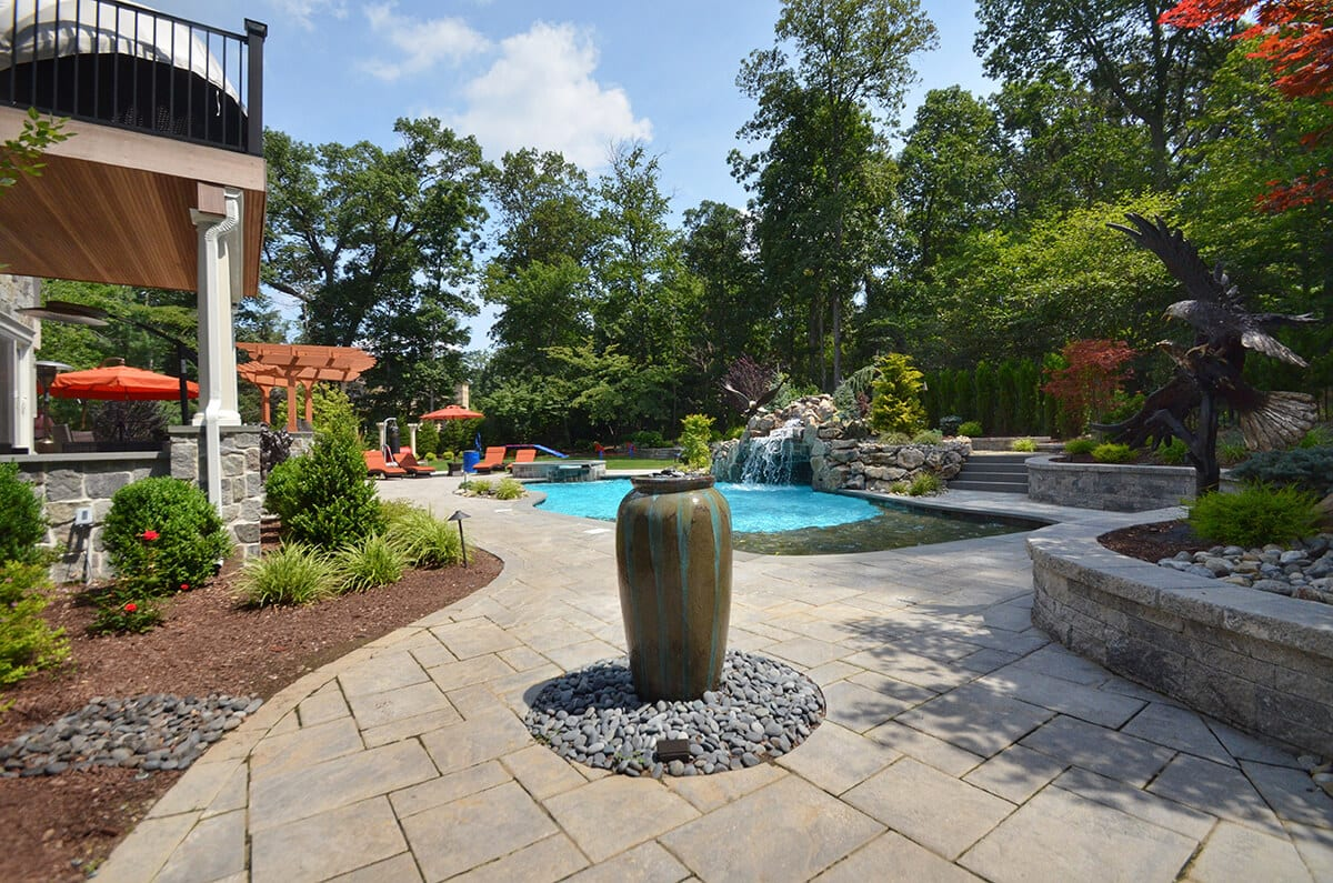 Complete Poolscape with Hardscaping and Gardens
