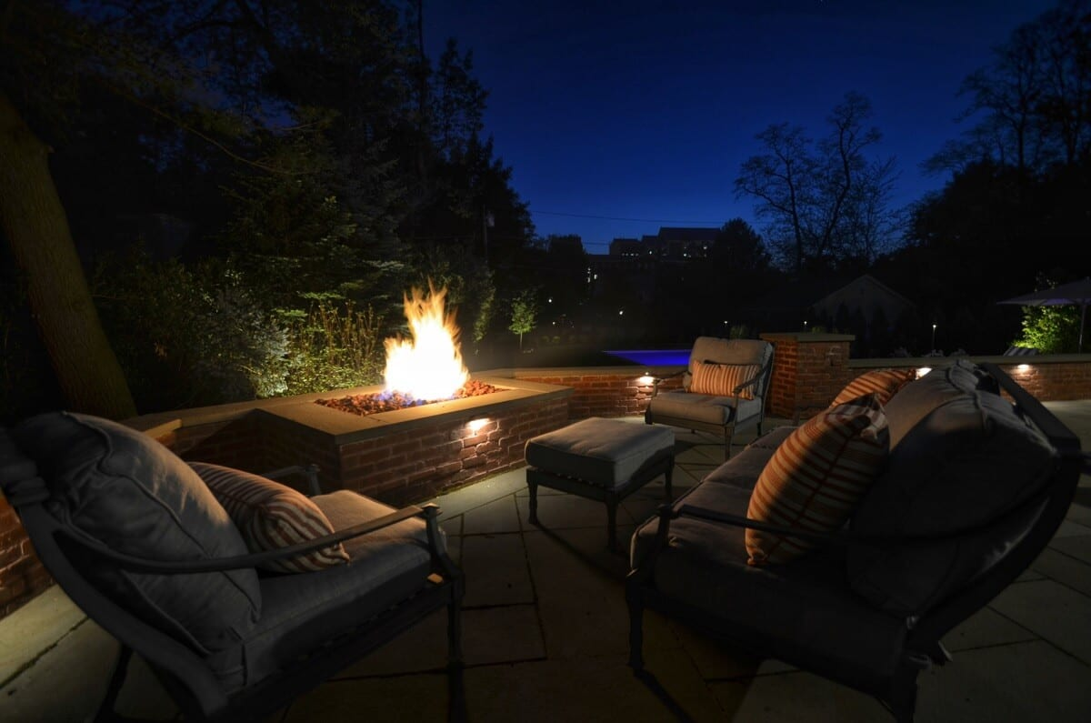 Terrace Lighting and Firepit