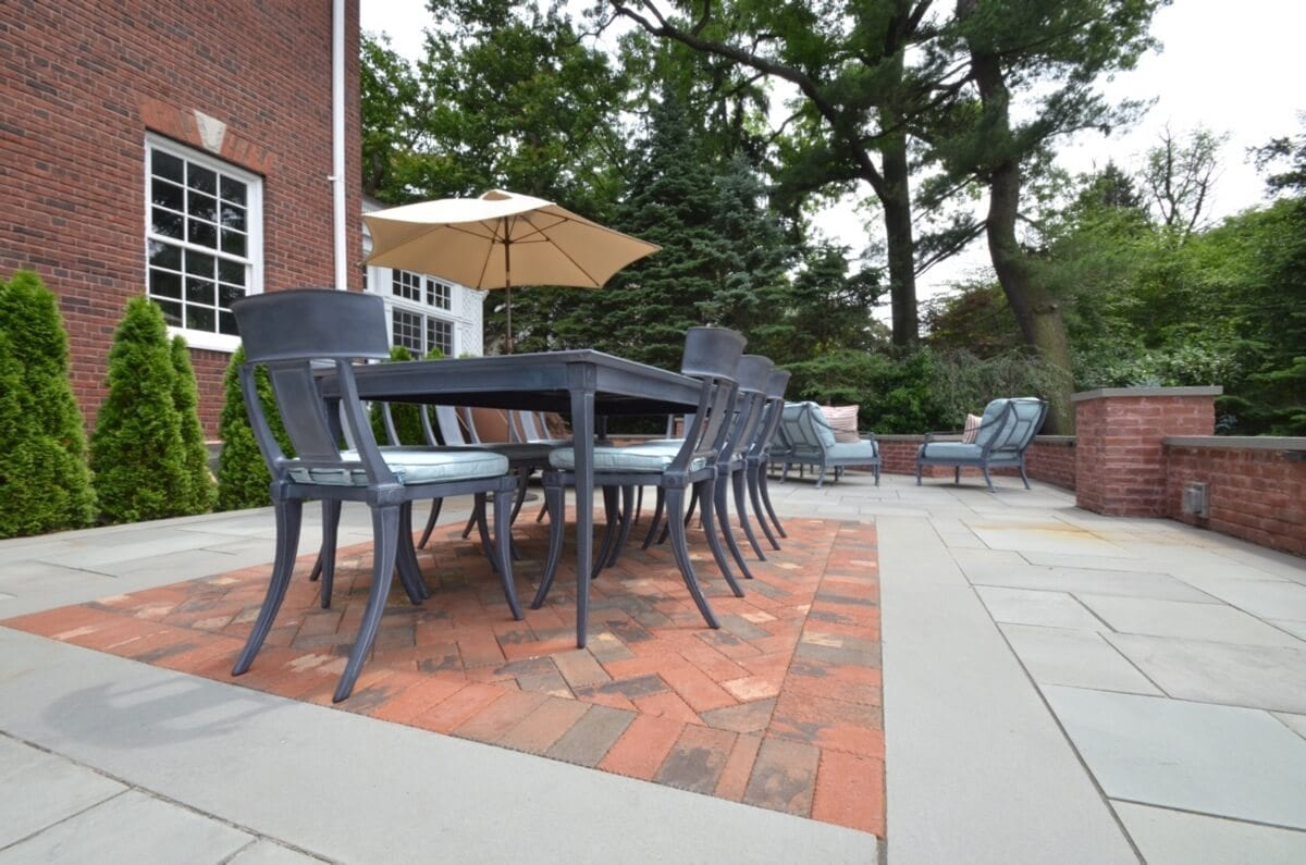 Expansivw Raised Terrace with Bluestone and Brick