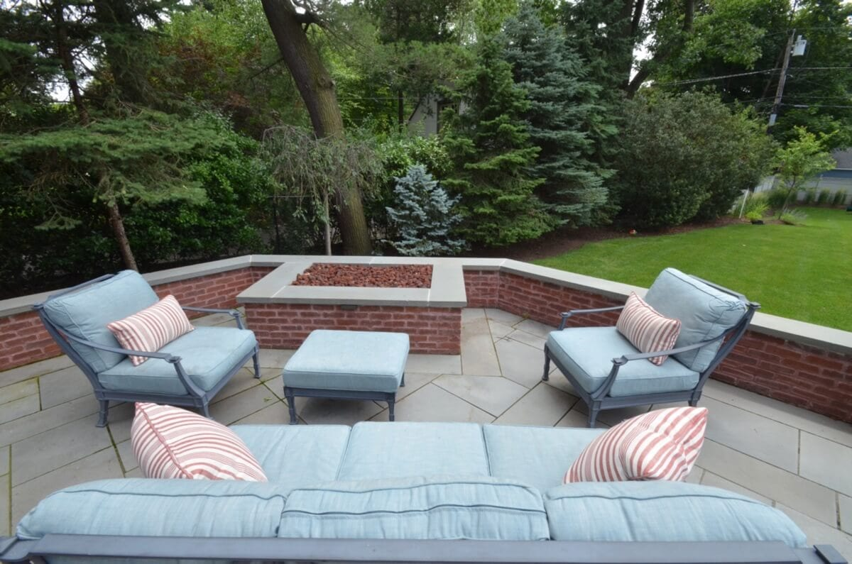 Terrace Seating Area Around Brick Firepit