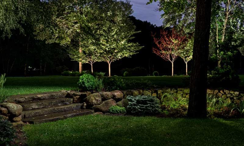 Garden-Steps, pathway outdoor lighting along garden and steps