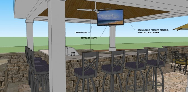 3d Landscape Design of a Patio and Outdoor Bar