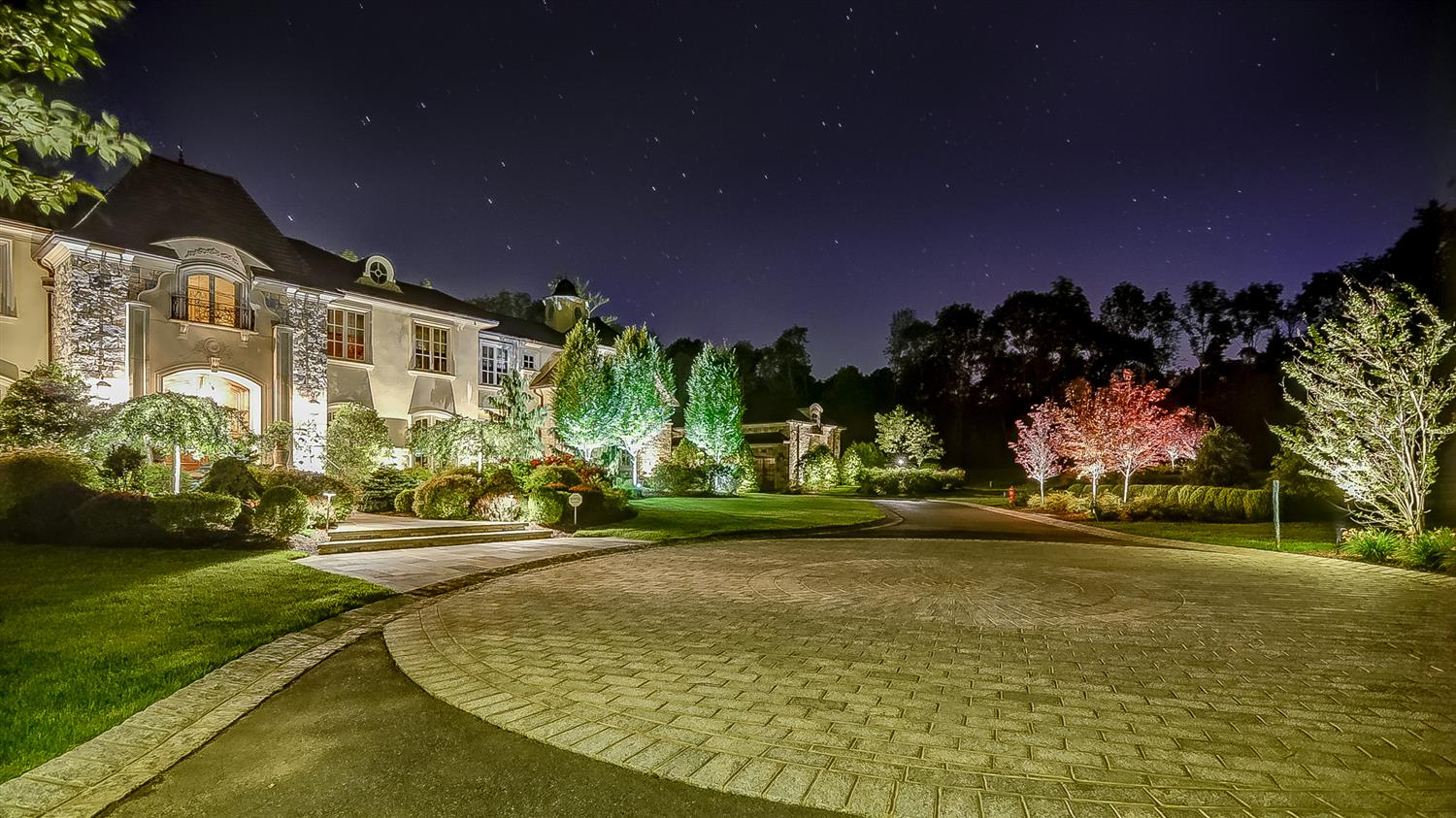 Side View of Stunning Residential Landscape Lighting