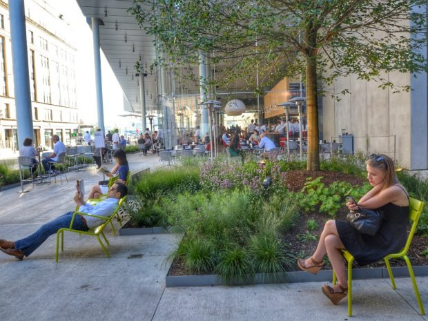 Landscaping at Whitney Museum with Outdoor Seating