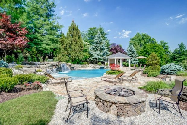 Landscaping with Pool, Waterfall, Conversation Area, and Garden