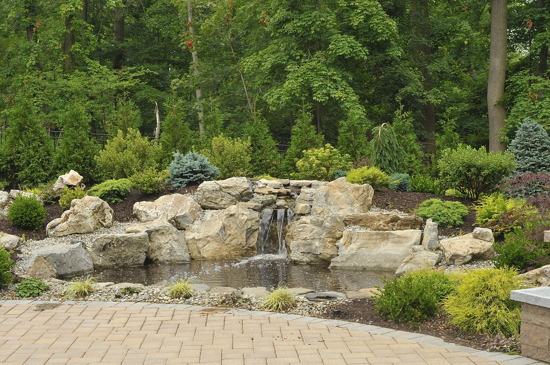 waterfall hardscaping pond landscaping