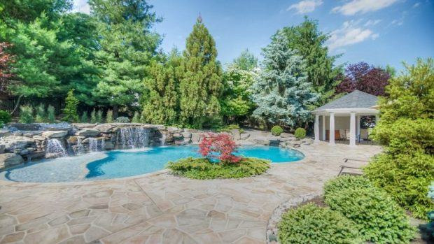hardscape stone patio outdoor pool pavers