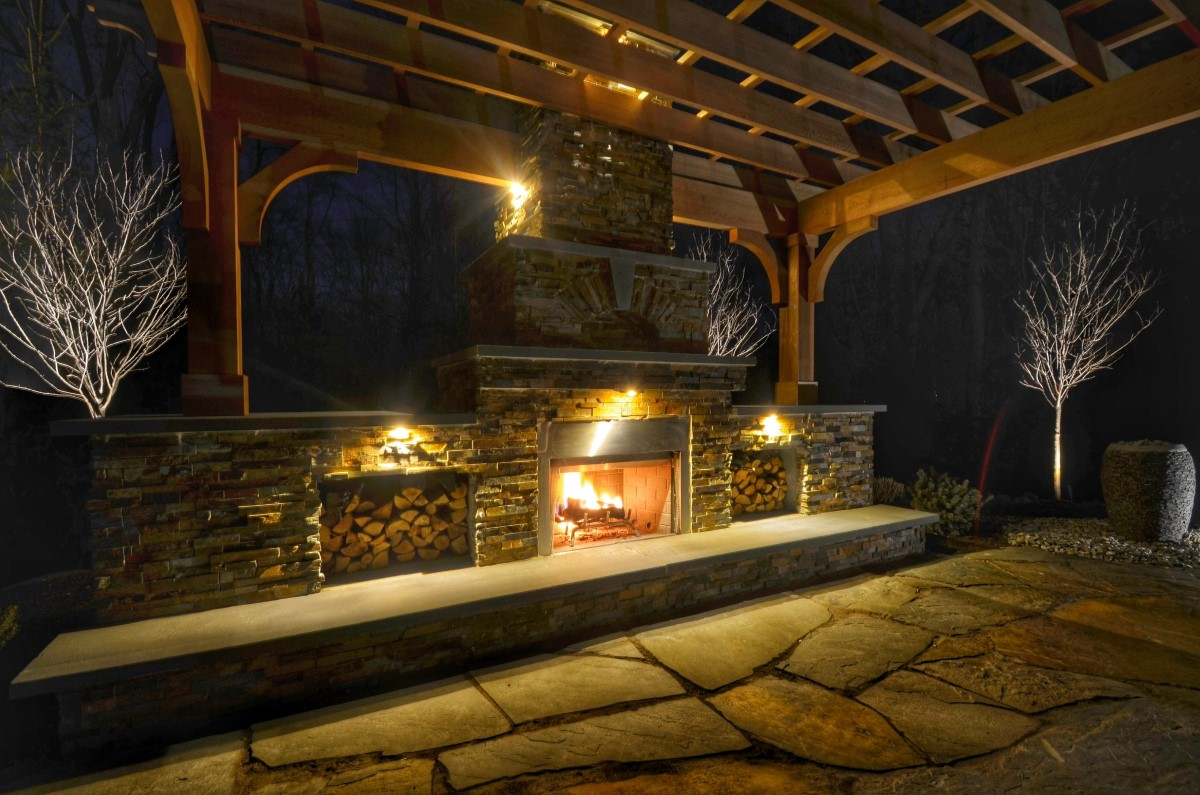Outdoor Fireplace with California Gold Stone Veneer and Rustic Patio