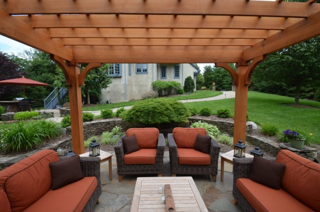 Backyard With Pergola patio design with pergola and fireplace - sponzilli landscape group