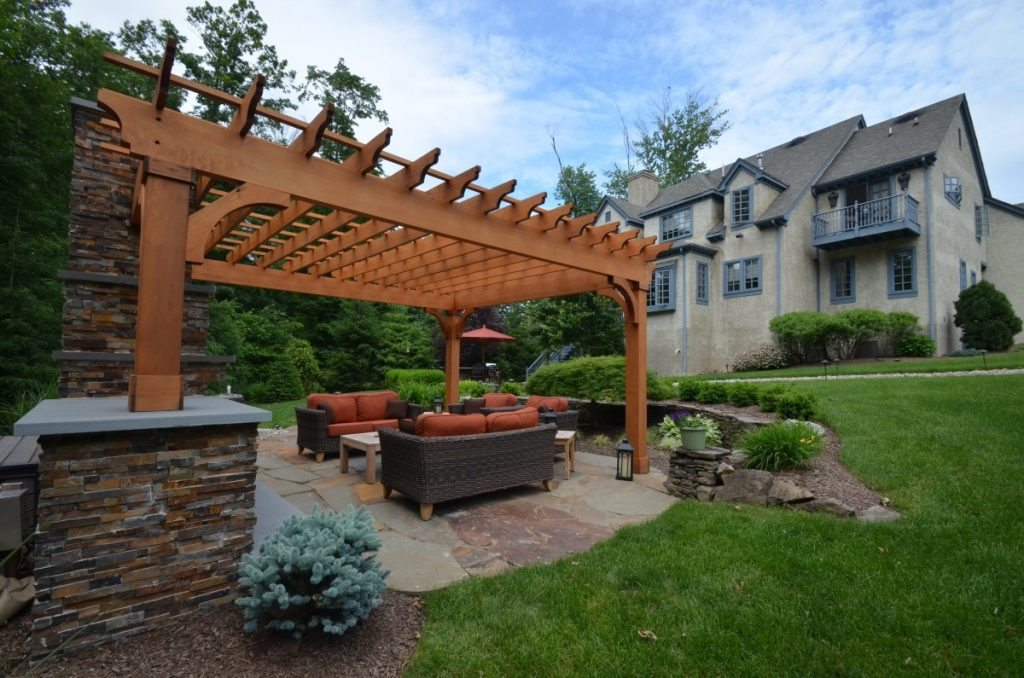 Patio Design With Pergola And Fireplace Sponzilli