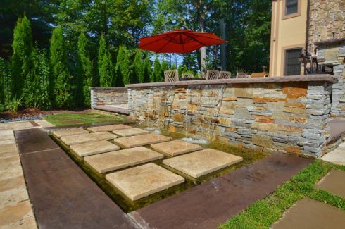 Custom Designed Stone Waterfall Wall