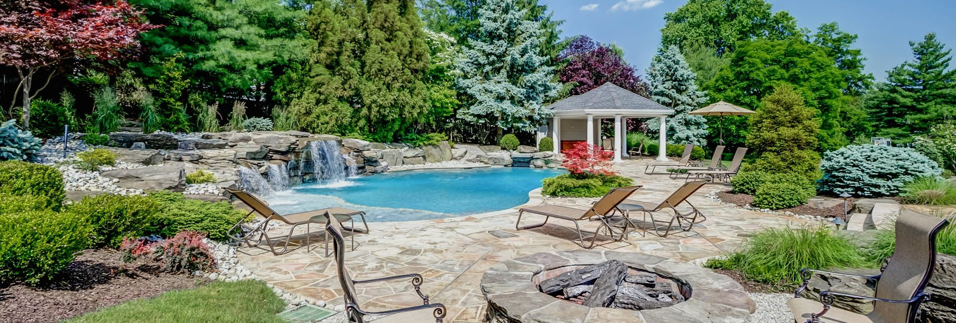 Outdoor Living Spaces with Pool, Cabana, Firepit ad Beautiful Trees