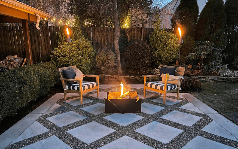 Cozy patio with simple firepit and seating