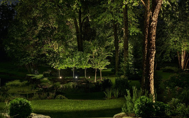 Low voltage landscape lighting on property perimater