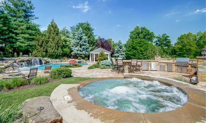 poolscape-design, outdoor kitchen and dining with hot tub and pool