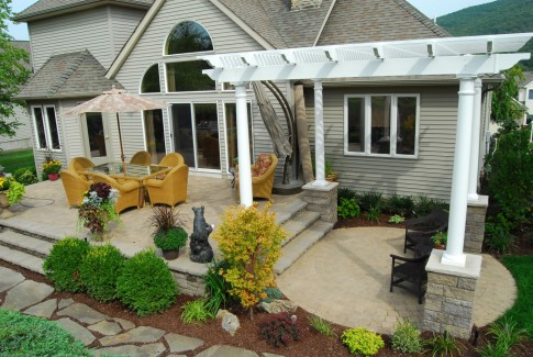 Hardscaped Terrace and Patio with Pergola