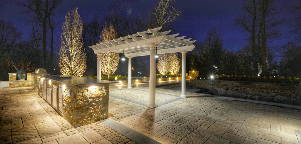 Patio with Kitchen and Pergola and Low Voltage Landscape Lighting
