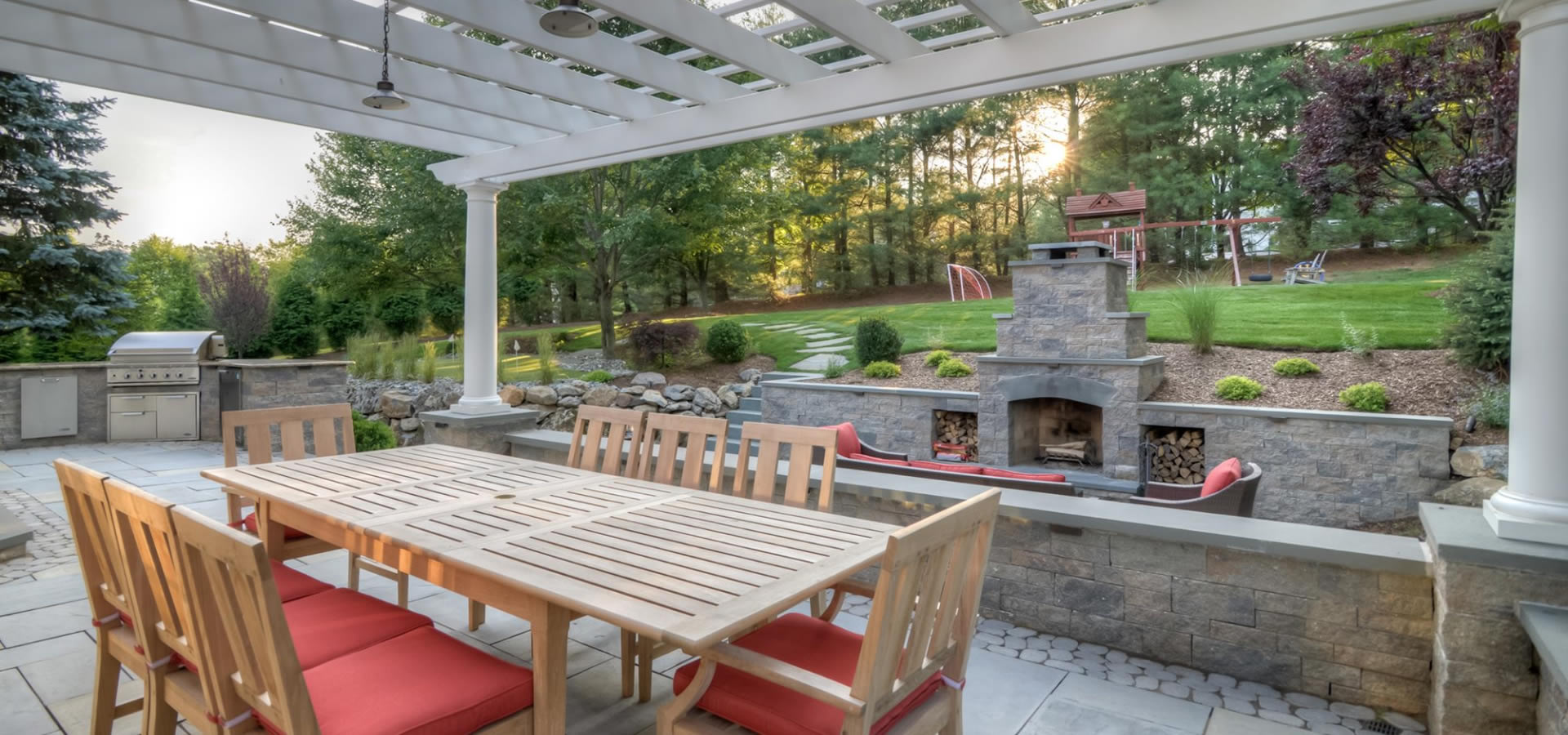 Luxury Outdoor Living Space with Fireplace