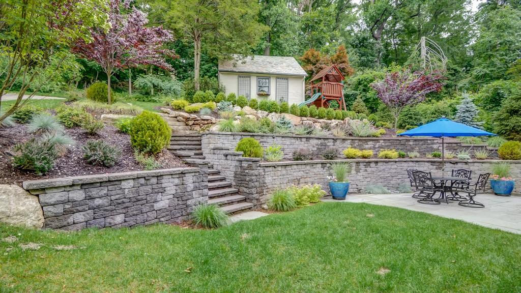 landscaping steeply sloped yard montclair nj sponzilli landscape group. Black Bedroom Furniture Sets. Home Design Ideas