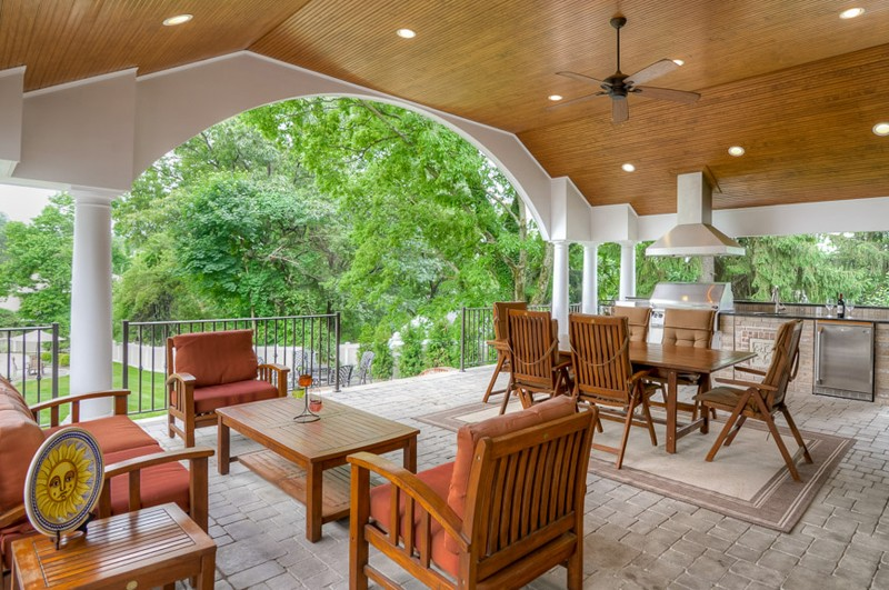 Outdoor Entertainment With Kitchen, Dining, And Conversation Area