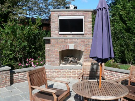 Brick Outdoor Fireplace and TV