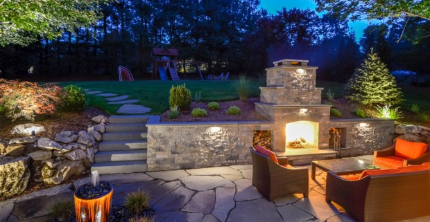 Outdoor Fireplace Creates Ambience