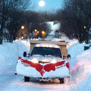 Snow Plow after Heavy Snowfall