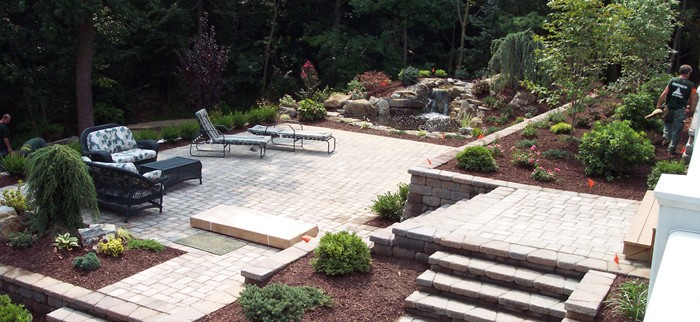 Tiered Terraces and Retaining Wall