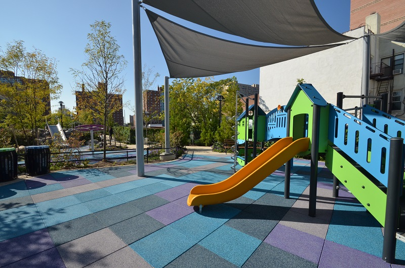 children urban playground slide